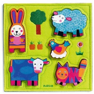 Rompecabezas en relieve - Animales de la granja de Nouki