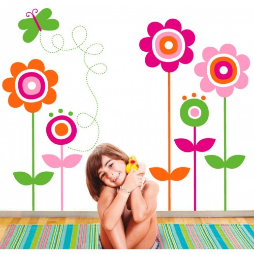 Vinilo decorativo - Flores de colores disponible en: www.happyeureka.com