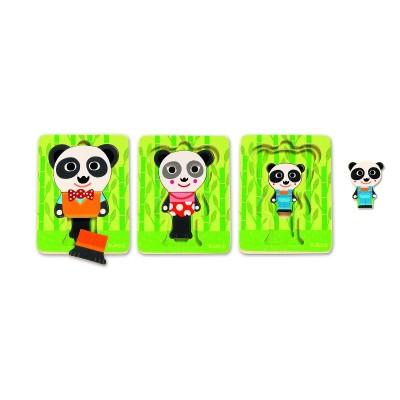 Rompecabezas de 3 niveles - La familia panda