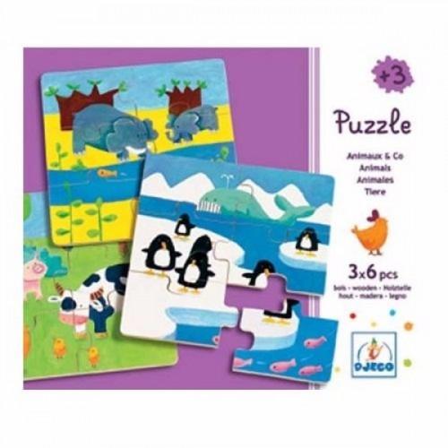 3 rompecabezas - Los amigos en sus hábitats disponible en: www.happyeureka.com