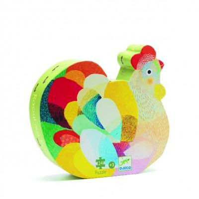 Rompecabezas de silueta - La gallina colorida