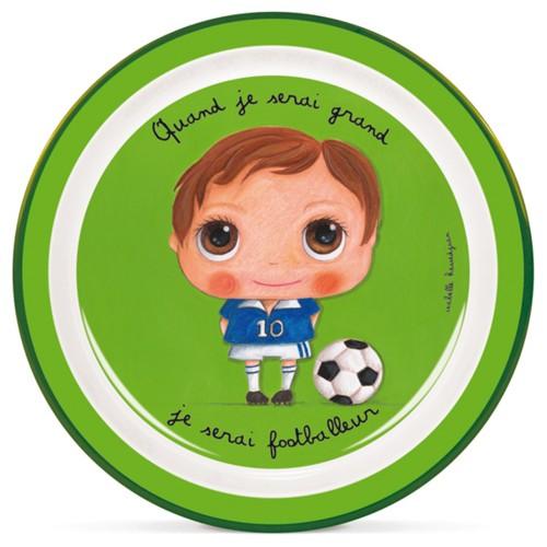 Melamin plate footballeur disponible en: www.happyeureka.com