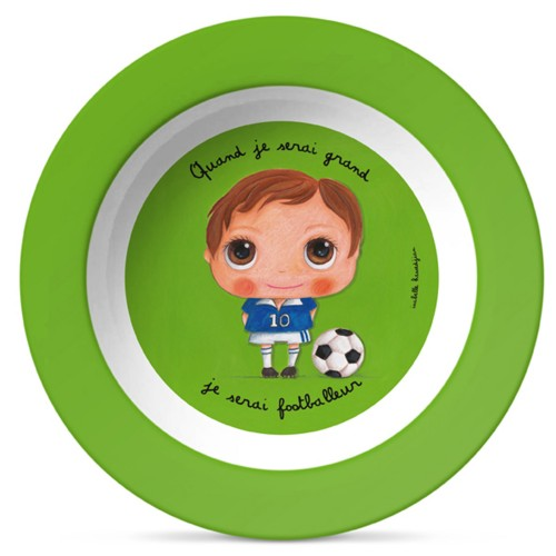 Melamin soup plate footballeur disponible en: www.happyeureka.com