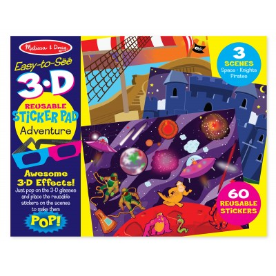 Easy to see 3d sticker pad adventure