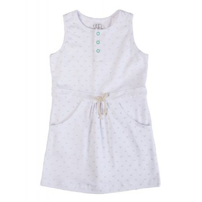 Drawstring jersey tank dress white 5t - vestido para niñas