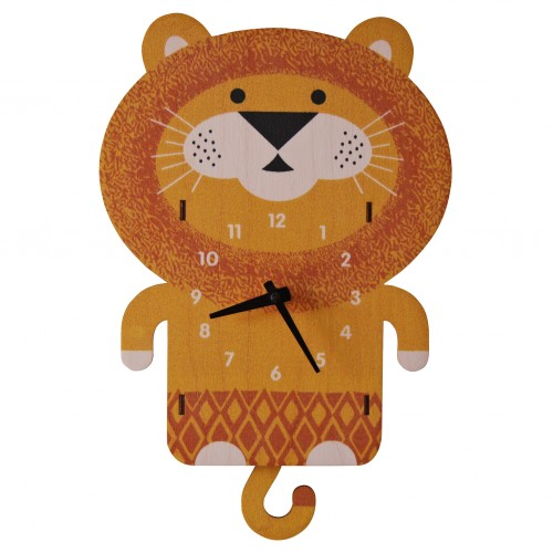 Reloj de pared con péndulo - El león disponible en: www.happyeureka.com