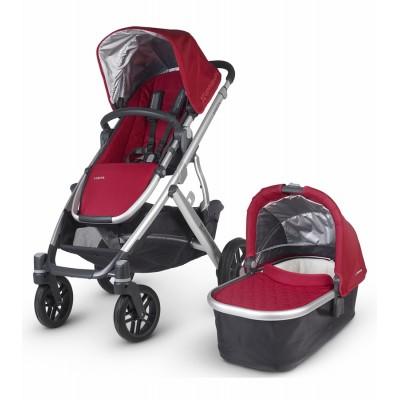 Coche vista para bebés con moisés rojo