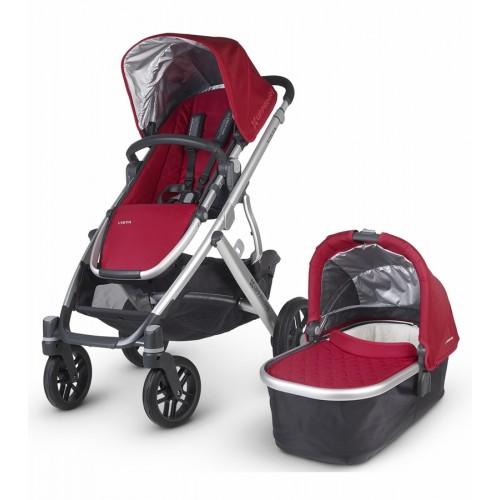 Coche vista para bebés con moisés rojo disponible en: www.happyeureka.com