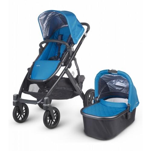 Coche vista para bebés con moisés azul disponible en: www.happyeureka.com